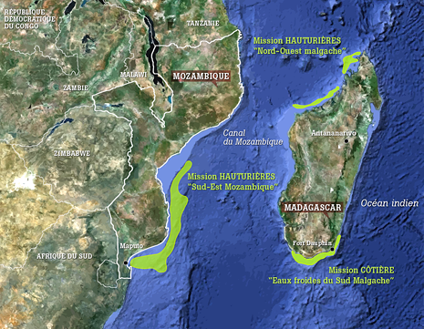 Localization of the coastal missions in the cold waters of the South of Madagascar